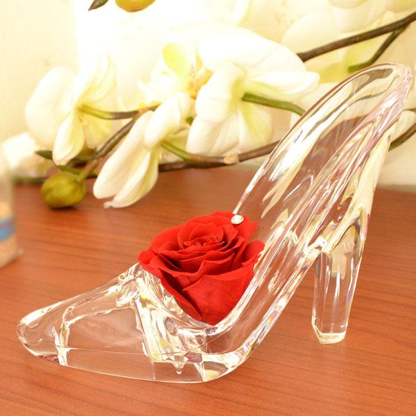 赤い バラ シンデレラの靴 ギフトセット プリザーブドフラワー スワロフスキー 付