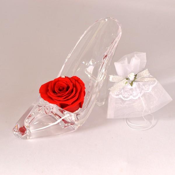 スワロフスキー 赤いバラ シンデレラ靴 プリザーブドフラワー ミニドレス  ギフトセット