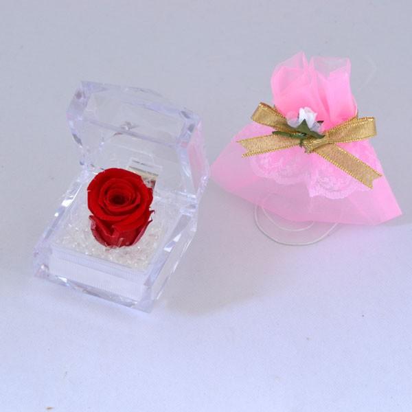 [クリスマス限定] 赤い バラ プリザーブドフラワー ミニドレス(ポーチ)付 クリスマスラッピング済 ギフトセット