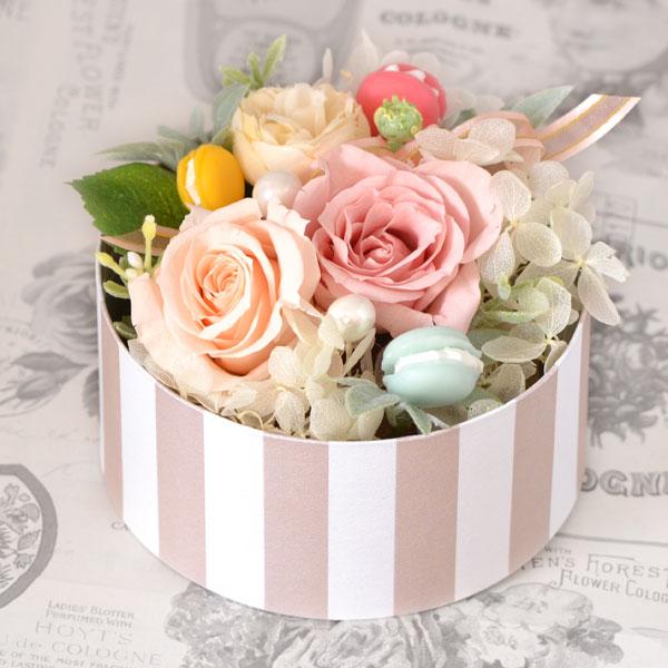 プリザーブドフラワー 3色マカロンとバラ BOXアレンジ ギフト y150401