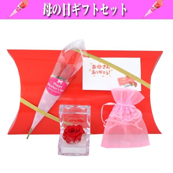 母の日 プレゼント 赤いバラ (ミニ) プリザードフラワー と ミニエプロンドレス(ポーチ) ギフトセット 贈り物 (お母さんありがとうメッセージカード付) y160354