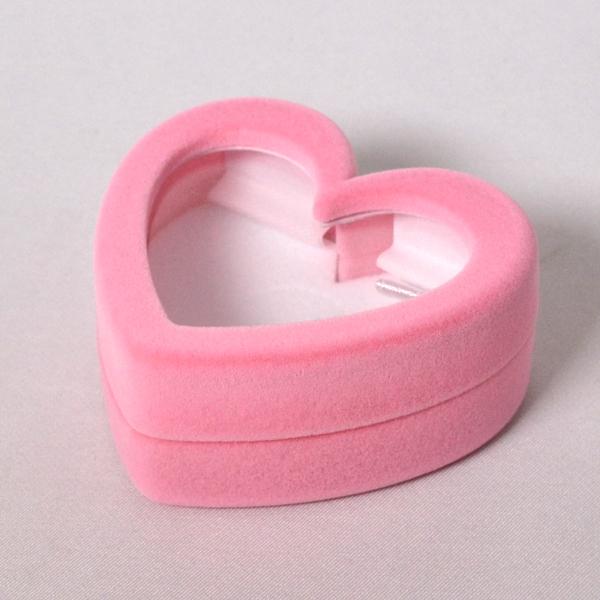 幸せ ハート ジュエリー ケース 携帯用 中身が見える 指輪 ネックレス ピアス 入れ (お磨きクロス付ギフトセット) y160410