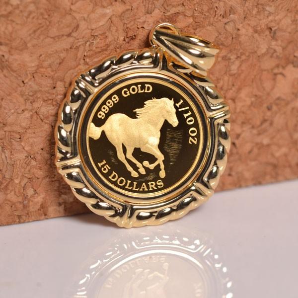 コインペンダント 馬 / クイーンエリザベスII コイン 24金 枠 18金 1/10オンス y160564