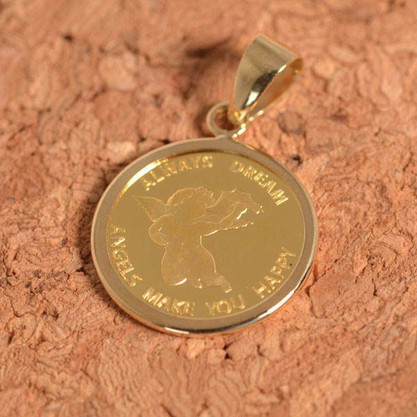 コインペンダント エンジェル コイン 24金 枠 18金 1/25オンス y160565