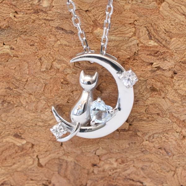 天使の卵 4月 誕生石 ダイヤモンド ネコ & 月 & ハート ペンダント ネックレス y170054
