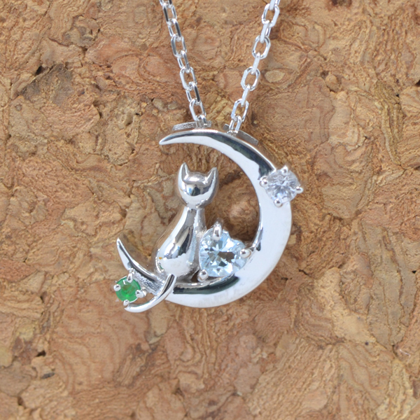 天使の卵 5月 誕生石 エメラルド ネコ & 月 & ハート ペンダント ネックレス y170055