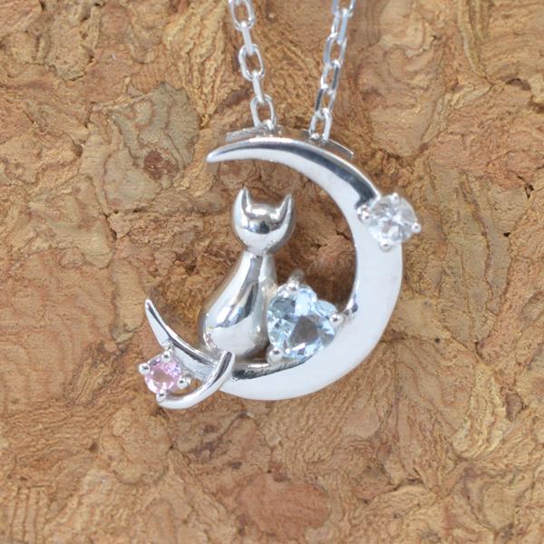天使の卵 10月 誕生石 ピンクトルマリン ネコ & 月 & ハート ペンダント ネックレス y170060