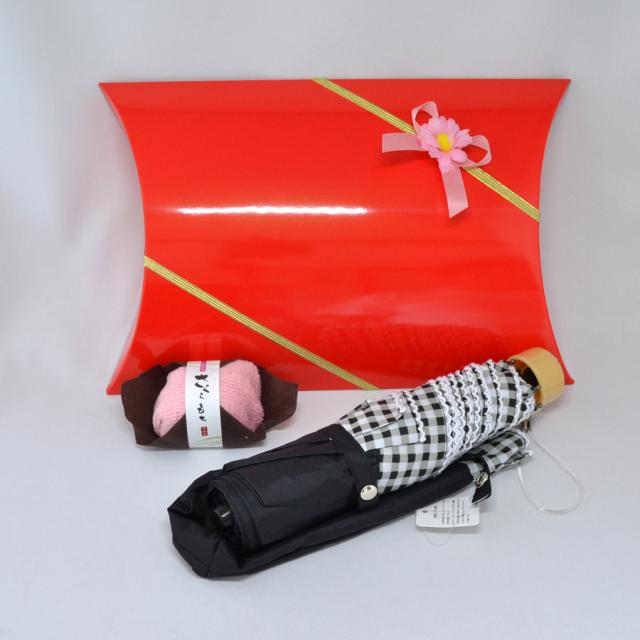 日傘 ギフトセット 誕生日 プレゼント 女性 懐かしい チェック模様 日傘 和菓子風 ハンカチ y170081