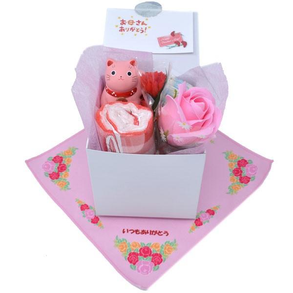 母の日 枯れない バラ ソープフラワー 招き猫 ケーキタオル ( いつも ありがとう 刻印 ハンカチ 付 ギフトラッピング済) y180032