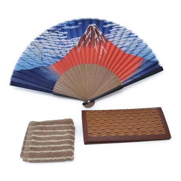 父の日 ギフト プレゼント 雄大な富士 扇子 長財布 ハンカチ セット y180071