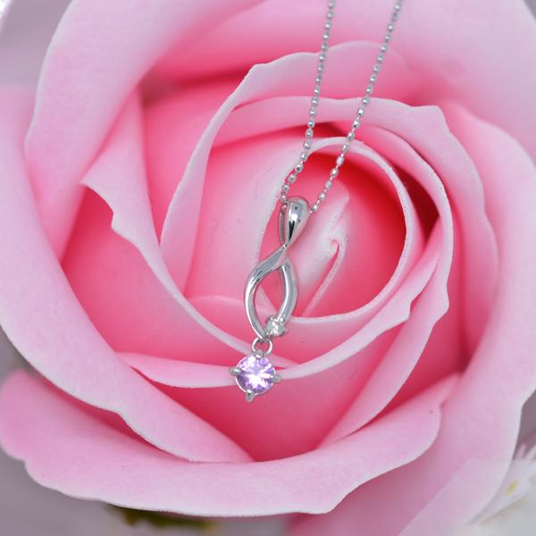 ピンクサファイア ダイヤモンド ネックレス   k18WG ソープフラワー ボックス セット y180099