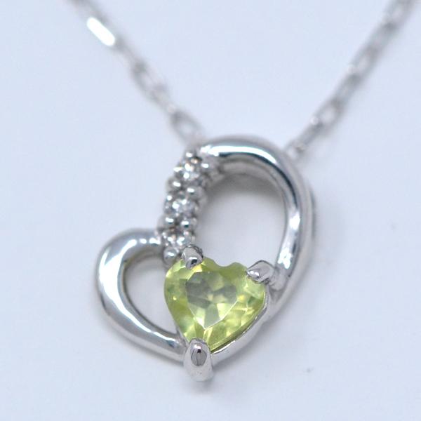 ペリドット ダイヤモンド 8月誕生石 Heart in heart ななめ ハート ネックレス K10WG y180118
