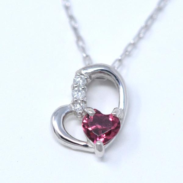 ピンクトルマリン ダイヤモンド 10月誕生石 Heart in heart ななめ ハート ネックレス K10WG y180120