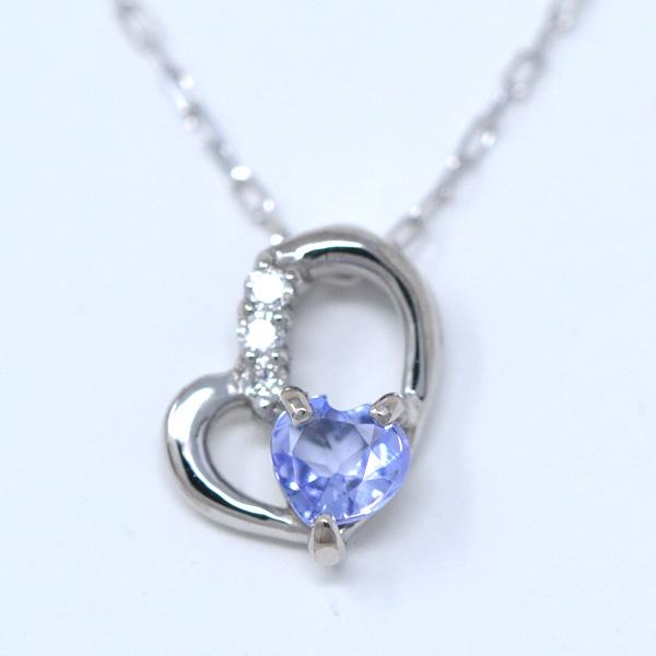 タンザナイト ダイヤモンド 12月誕生石 Heart in heart ななめ ハート ネックレス K10WG y180122