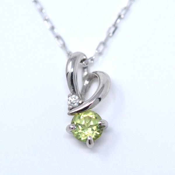ペリドット ダイヤモンド 8月誕生石 ペンダント ネックレス ひねり ハート 素敵 K10WG y180128