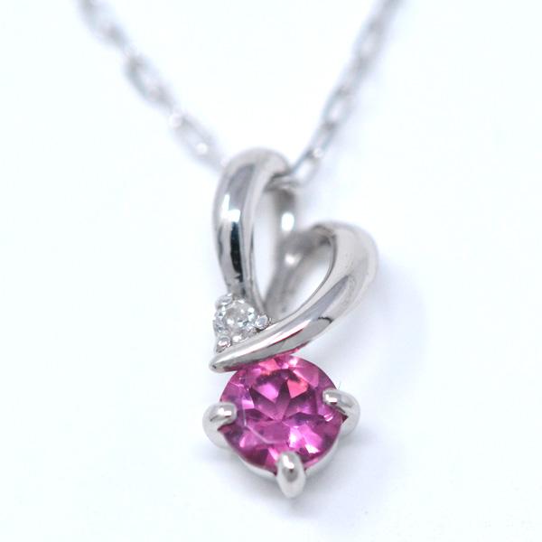 ピンクトルマリン ダイヤモンド 10月誕生石 ペンダント ネックレス ひねり ハート 素敵 K10WG y180130