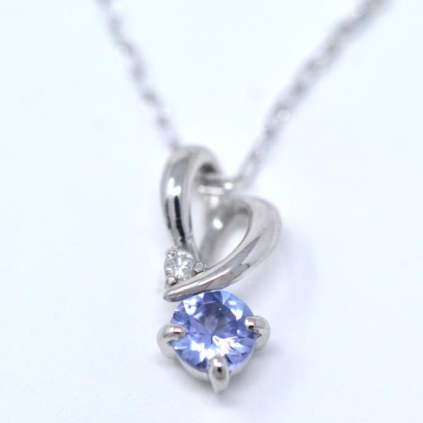 タンザナイト ダイヤモンド 12月誕生石 ペンダント ネックレス ひねり ハート 素敵 K10WG y180132