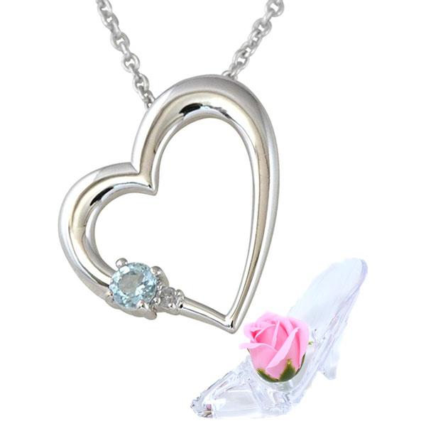 彼女に人気 誕生石 ネックレス アクアマリン 3月 誕生石 ダイヤモンド  ネックレス ALWAYS 誕生日プレゼント ソープフラワー セット y180183
