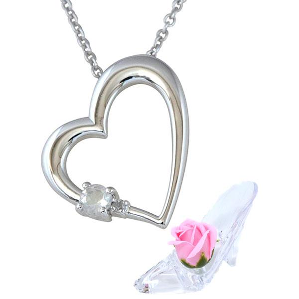彼女に人気 誕生石 ネックレス ブルームーンストーン 6月 誕生石 ダイヤモンド ハート ペンダント ネックレス ALWAYS ソープフラワー セット y180186