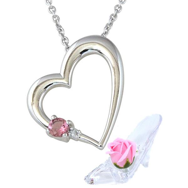 プレゼント 彼女に人気 誕生石 ネックレス 10月 ピンクトルマリン  ダイヤモンド ペンダント ALWAYS 誕生日プレゼント ソープフラワー セット y180190