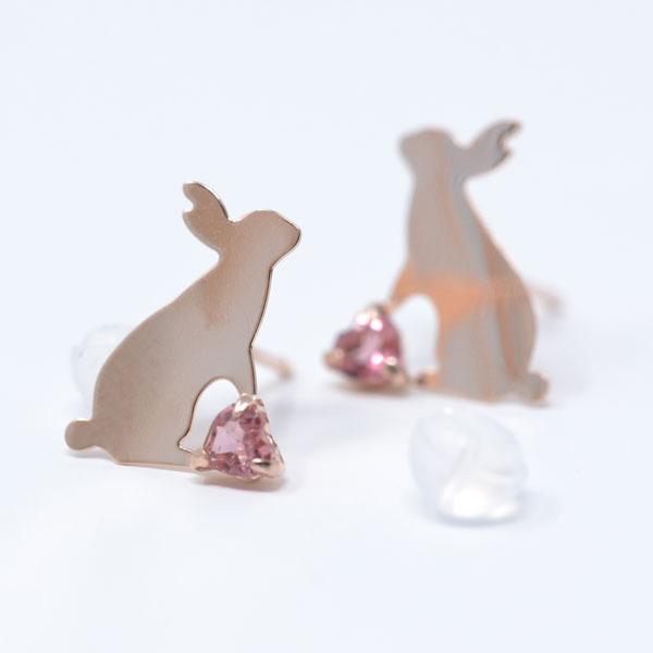 ピアス ピンク トルマリン ピンクゴールド 可愛い うさぎ rabbit ウサギ y180210