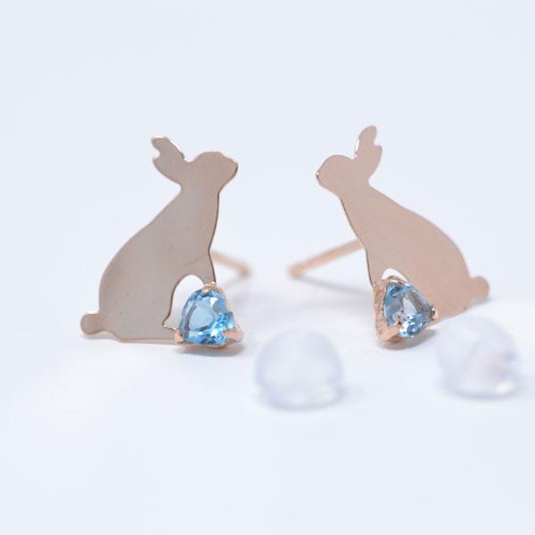 ピアス ブルー トパーズ ピンクゴールド 可愛い うさぎ rabbit ウサギ y180211
