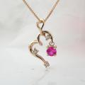 ルビー(7月誕生石) ハートダイヤモンドネックレス 揺れる ルビーネックレス K18PG 18金ピンクゴールド