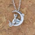 天使の卵 6月 誕生石 ブルー ムーンストーン ネコ & 月 & ハート ペンダント ネックレス y170056
