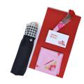 母の日 プレゼント 日傘 晴雨兼用 懐かしいチェック模様 (日傘といつもありがとうハンカチ ラッピング済セット) y180061