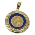 コイン イルカ ドルフィン エリザベス II ペンダント トップ 金貨 $5 FIVE DOLLARS 999.9 GOLD 1/20 OZ  24金 枠 18金 ガラス付 y190401