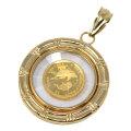 コイン イルカ ドルフィン エリザベス II ペンダント トップ 金貨 $4 FOUR DOLLARS 999.9 GOLD 1/30 OZ  24金 枠 18金 ガラス付 y190402