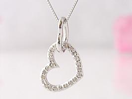 K18WG(ホワイトゴールド)ダブルハートダイヤモンドネックレス