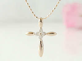 K18PG(ピンクゴールド)クロスとお花のかわいいダイヤモンドネックレス