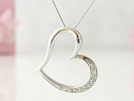 K18WG(ホワイトゴールド)少し大ぶりハートダイヤモンドネックレス
