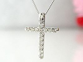 シンプルが一番K18WG(ホワイトゴールド)シンプルクロスダイヤモンドネックレス