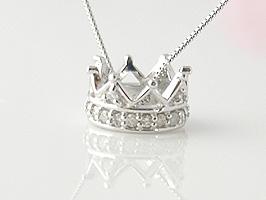 K18WG(ホワイトゴールド)ラウンド形ダイヤモンドネックレス