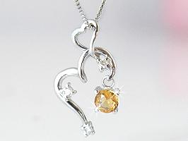シトリン ハート揺れる誕生石ダイヤモンドネックレス[K18ホワイトゴールド]送料無料