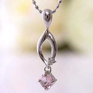 ピンクトルマリン シンプルダイヤモンドネックレス 10月誕生石 [K18WG]ルビー付ペンダント【誕生日プレゼント】