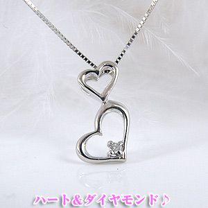 ダブルハートダイヤモンドペンダントネックレス K10WG[10金ホワイトゴールド]y100229