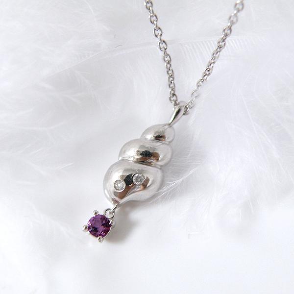 揺れるガーネット(1月誕生石) ダイヤモンドネックレス 幸せの貝形シェルペンダントネックレス【納期約1-2週間】
