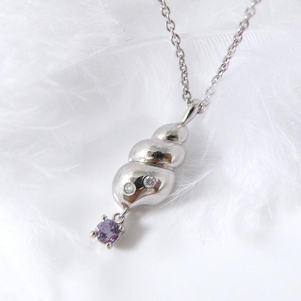 揺れるアメジスト(2月誕生石) ダイヤモンドネックレス 幸せの貝形シェルペンダントネックレス【納期約1-2週間】