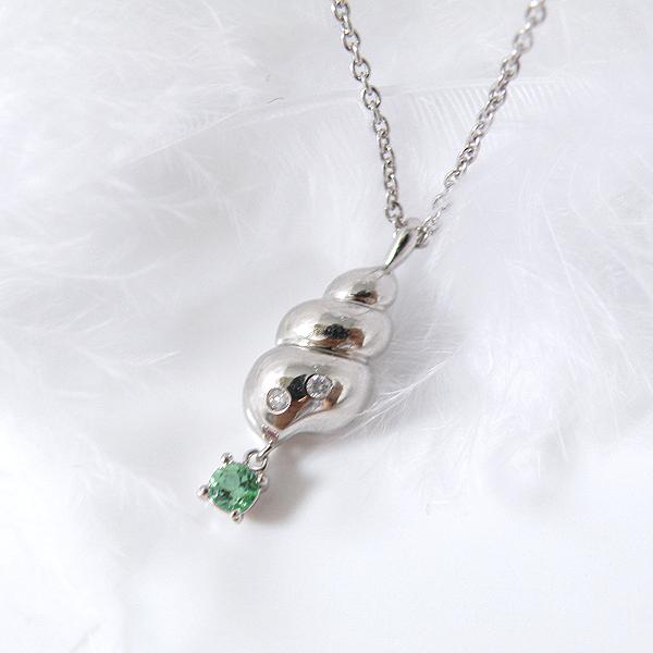 揺れるエメラルド(5月誕生石) ダイヤモンドネックレス 幸せの貝形シェルペンダントネックレス【納期約1-2週間】