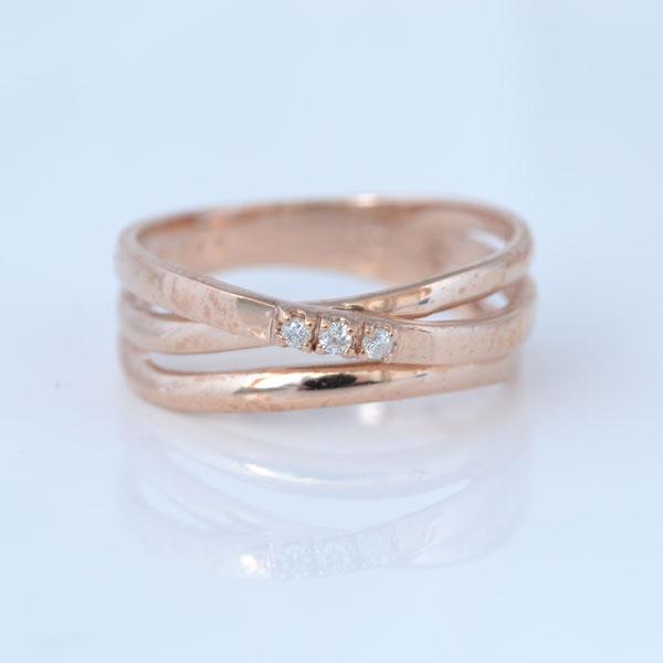 大ぶりピンキーリングダイヤモンド付 ピンクゴールド 小指指輪 y120050p