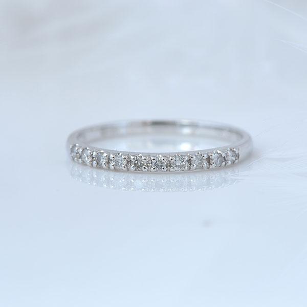 ピンキーリング シンプルダイヤモンド ホワイトゴールド 小指指輪 y120052w
