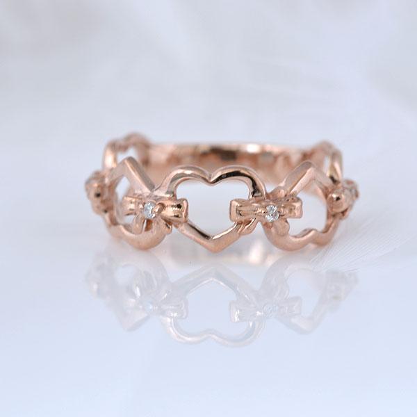 ピンキーリング ハート&heart ダイヤモンド ピンクゴールド 小指指輪 y120053p