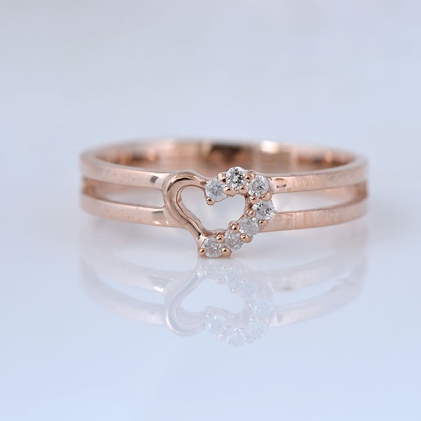 ピンキーリング ハート形 ダイヤモンド ピンクゴールド 小指指輪 y120054p