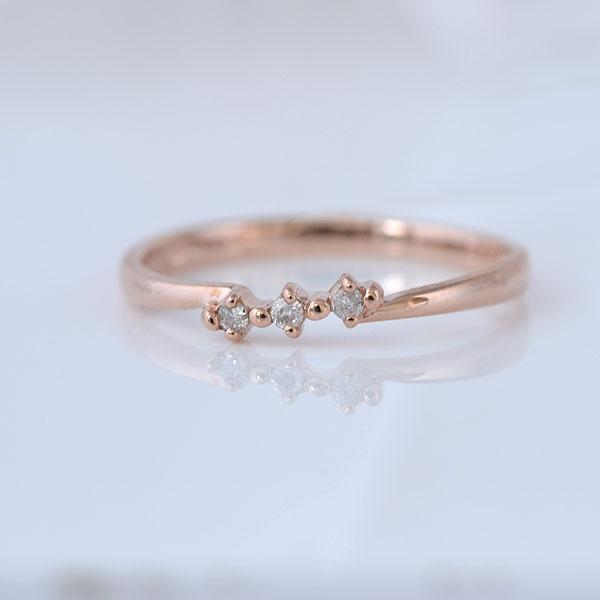 ピンキーリング スリーストーンダイヤモンド ピンクゴールド 小指指輪 y120055p