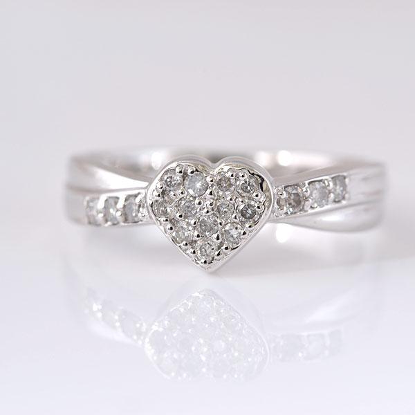 ピンキーリング ハート形 ダイヤモンド ホワイトゴールド 小指指輪 y120057w
