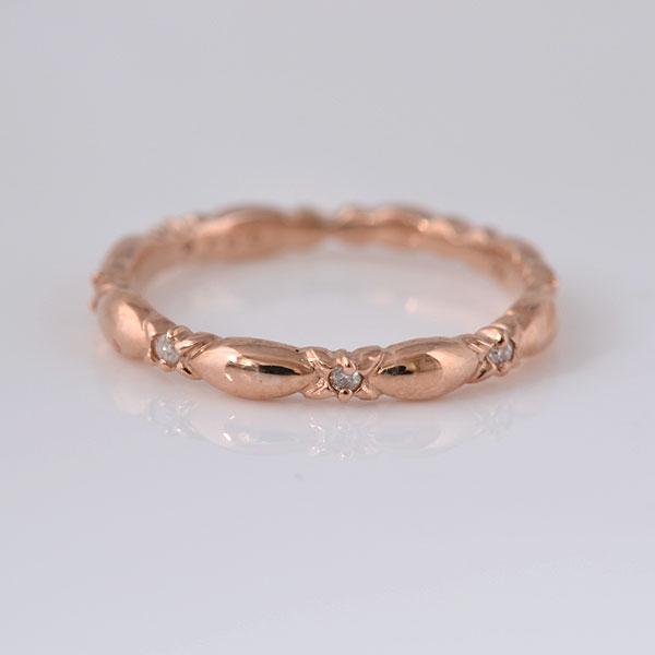 ピンキーリング 細めのデザイン ダイヤモンド ピンクゴールド 小指指輪 y120058p