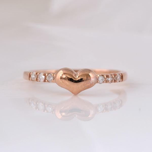 ピンキー指輪 ピンキーリング ハートダイヤモンド ピンクゴールド 小指指輪 y120059p